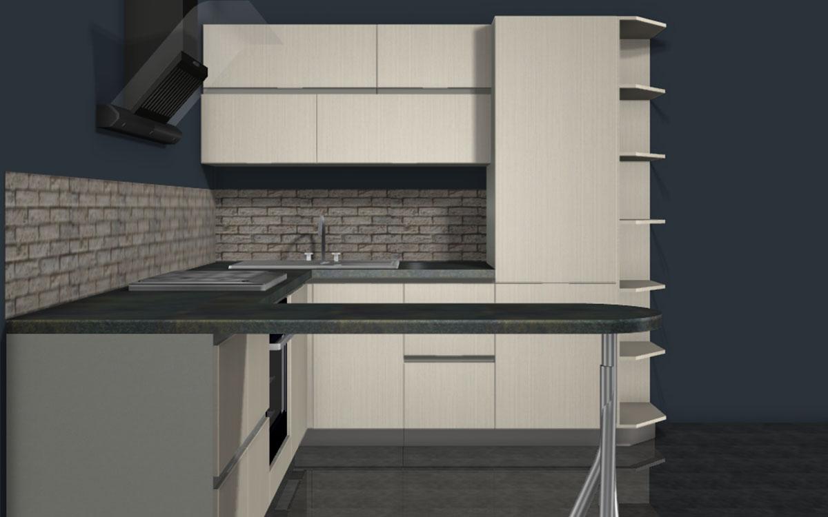 кухня студия с барной стойкой от фабрики спутник стиль