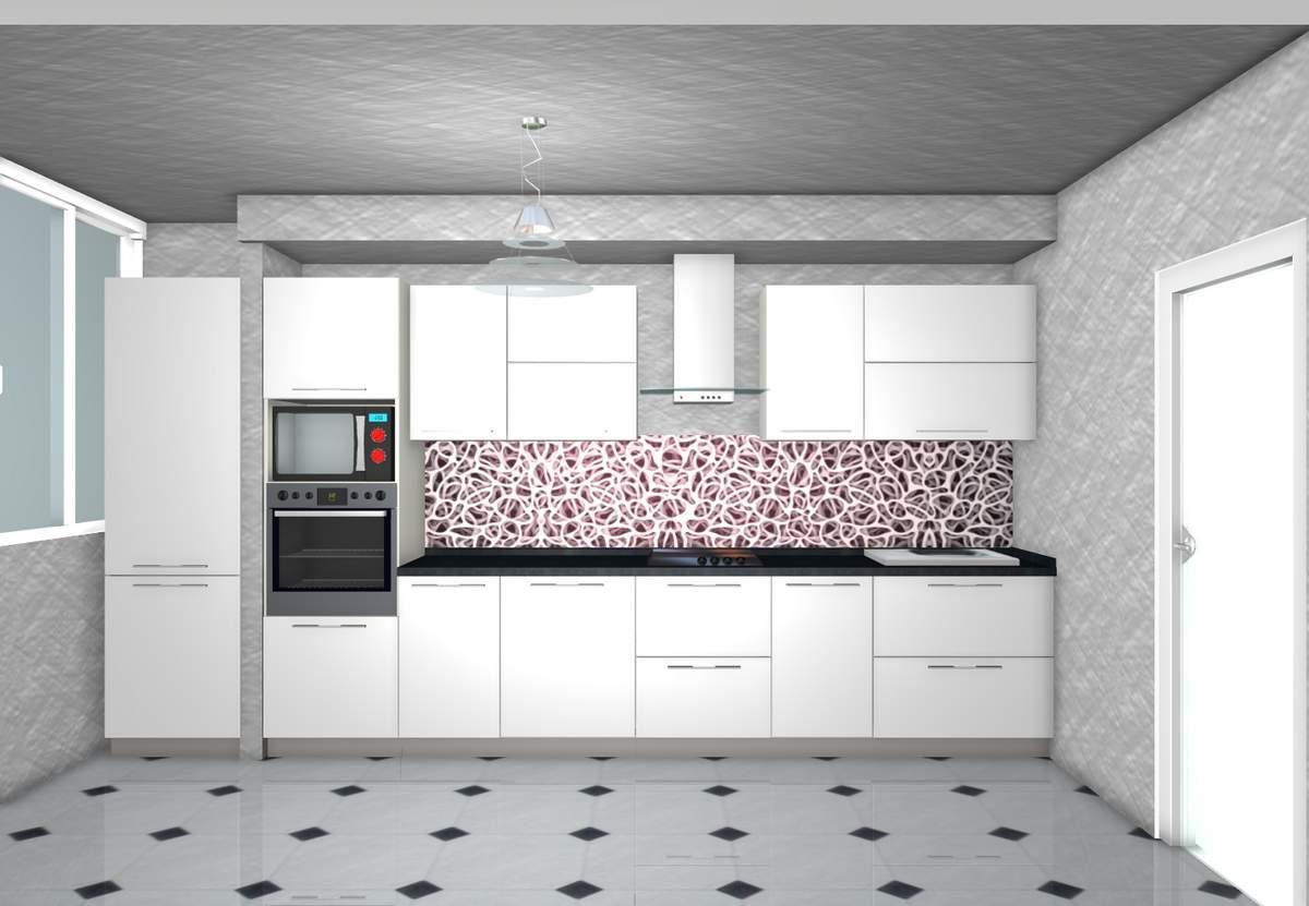 кухня 3 метра прямая фото с холодильником
